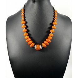 Ethnic handmade necklace with orange colored stones