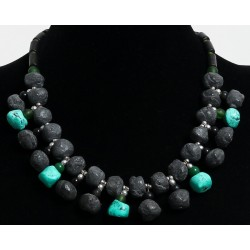 Ethnic artisanal necklace imitation black and green stones arranged with pearls and...