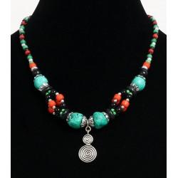 Ethnic artisanal necklace imitation turquoise stones arranged with multicolored pearls...