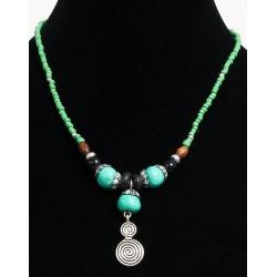 Ethnic artisanal necklace green blue beads with imitation turquoise balls, embellished...
