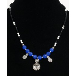 Ethnic artisanal necklace blue balls arranged with black and white pearls with silver...