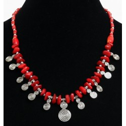 Handcrafted necklace imitation coral red pieces arranged with red and silver pearls and...