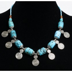 Ethnic artisanal necklace imitation turquoise coral cylinders with chiseled silver...