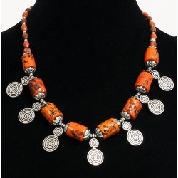 Ethnic artisanal necklace with imitation orange coral cylinders with chiseled silver...