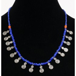 Handcrafted necklace imitation blue pearls arranged with silver pearls and others in...