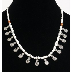 Handcrafted necklace imitation white pearls arranged with silver pearls and others in...