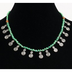 Ethnic necklace imitation green pearls arranged with silver and other wooden pearls,...