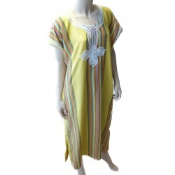Gandoura / Moroccan dress for women with multicolored stripes (Standard Size) - Yellow