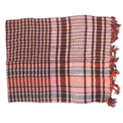 White Palestinian scarf with burgundy and black checks (100% cotton)