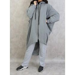 Veste longue sportswear avec capuche (Plusieurs couleurs disponibles)