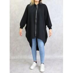 Long sportswear jacket with hood in black