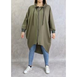 Long sportswear jacket with hood in khaki color