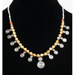 Ethnic artisanal necklace yellow balls arranged with silver and other white pearls,...