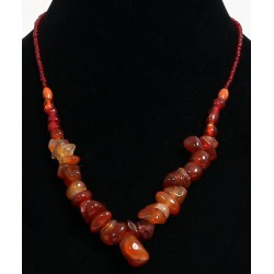 Multiform amber stone imitation ethnic necklace with amber colored beads