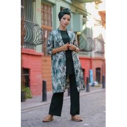 Ensemble 3 pièces Pantalon + Haut + Cardigan - Couleur Vert émeraude