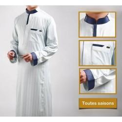 Qamis fashion de qualité supérieure couleur gris clair ?
