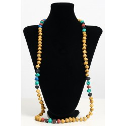 Long ethnic handmade necklace imitation yellow stones embellished with pearls and other...