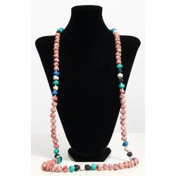 Long ethnic handmade necklace imitation shrimp colored stones embellished with pearls...