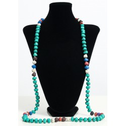 Long ethnic handmade necklace imitation turquoise colored stones embellished with...