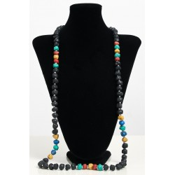 Long ethnic handmade necklace imitation black colored stones embellished with pearls...