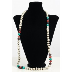 Long ethnic handmade necklace imitation stones white color embellished with pearls and...