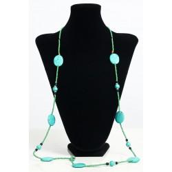 Long ethnic handmade necklace imitation turquoise discoid stones embellished with...