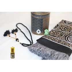 Coffret Cadeau Muslim boite round Kaaba (Color golden black with) with prayer rug and...