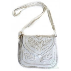 Moroccan artisanal bag in white leather with stitched patterns