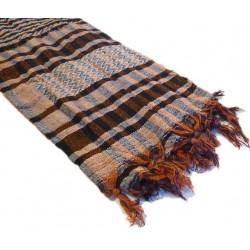 White Palestinian scarf with brown and black checks (100% cotton)