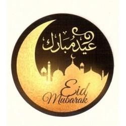 "A bilingual ""Aid Mubarak"" sticker (French / Arabic) - Round sticker sticker of 4 cm in..."