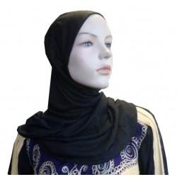 Black hijab one piece simple half long