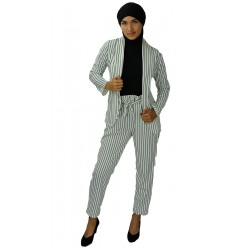 White suit with black stripes (Jacket and pants set)