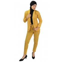 Mustard yellow suit with black stripes (Jacket and pants set)