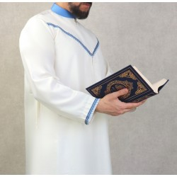 Elegant Qami of superior quality satin fabric for man-Color white broken and blue