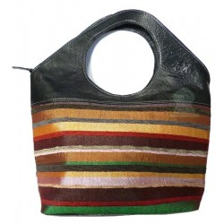 Small handbag in black leather and Moroccan sabra woven and sewn