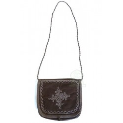 Handmade bag in brown mabra fabric with pretty embroidered patterns