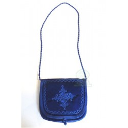 Handcrafted satchel in navy blue mabra fabric with pretty embroidered patterns