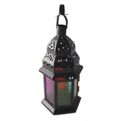 Decorative black / white lantern in wrought iron with multi-colored glass skylights