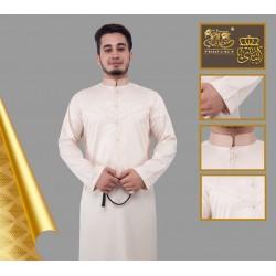 Qamis de qualité supérieure couleur beige tissu satiné avec boutons pression décorés
