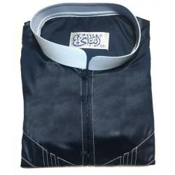 Qamis de qualité supérieure couleur bleu foncé tissu satiné avec boutons pression décorés