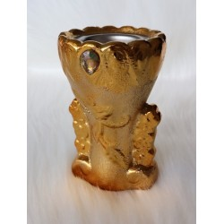 Pig in gilded porcelain with diamond