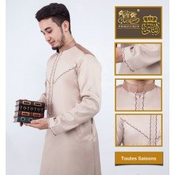Stylish men's stylish camel-coloured Qamis with embroidery and satin fabric
