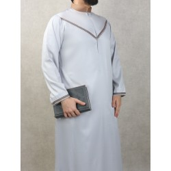 Elegant Qami of superior quality satin fabric for man-Color Light grey and brown