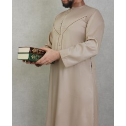 Elegant Qamis for high quality male with embroidery-Dark beige color