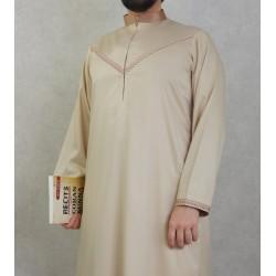 Elegant Qami of superior quality satin fabric for man-Color beige