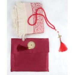 Muslim women's gift bag: cloth pouch + 99 beads (Sabha) + adult prayer rug-burgundy