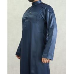 Qamis modern man high-end midnight blue color (satin fabric)