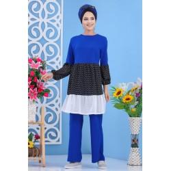 Ensemble 2 pièces (tunique et pantalon) de couleur bleu roi, noir et blanc