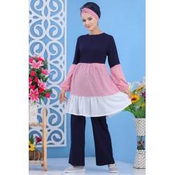 Ensemble 2 pièces (tunique et pantalon) de couleur bleu marine, rose et blanc