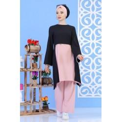 Ensemble perlé tunique + pantalon de couleur noir et rose